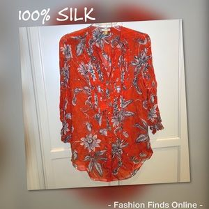 Leifsdottir Anthropologie 100% silk pleated blouse